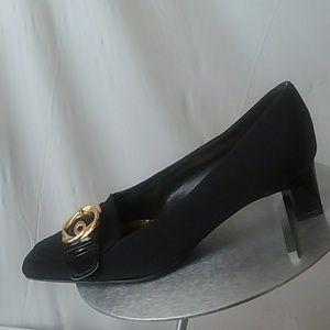 St John Black Cloth & Patent Heels 7.5M